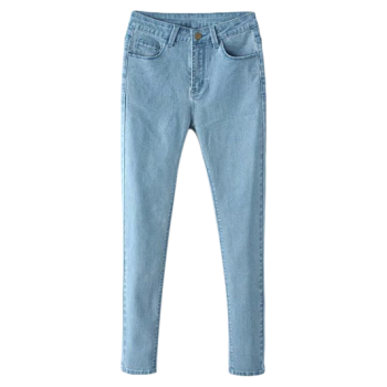 Zip Fly High Waisted Skinny Jeans - LIGHT BLUE L