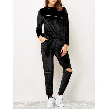 Velvet Zippered T-Shirt and Sports Pencil Pants