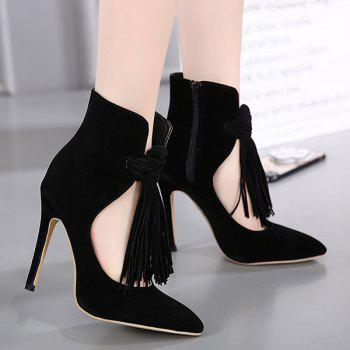 Zipper Pointed Toe Tassels Pumps