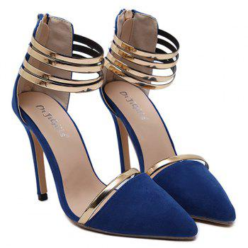 Strappy Two Piece Pumps - BLUE 40