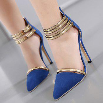 Strappy Two Piece Pumps - BLUE 37