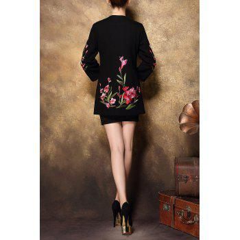 Embroidered Button Fly Coat - BLACK 4XL