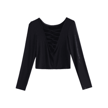 Lace Up Fitted Crop Tee Shirt - BLACK BLACK