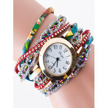 Faux Leather Rhinestone Wrap Bracelet Watch