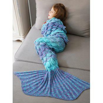 Crochet Fish Scale Knit Mermaid Blanket Throw For Kids - COLORMIX