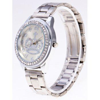Rhinestoned Crown Stainless Steel Watch - SILVER