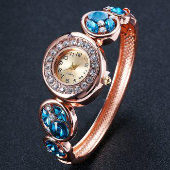 Rhinestoned Round Bracelet Watch - LAKE BLUE