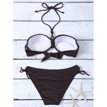 Halter Sequin Padded Bikini Set - COFFEE L