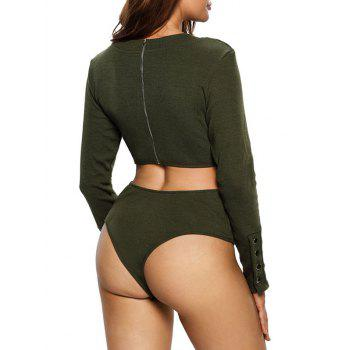 Zipper Cut Out Long Sleeve Bodysuit - ARMY GREEN L
