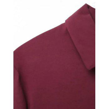 Printed Back Casual Shirt - WINE RED M