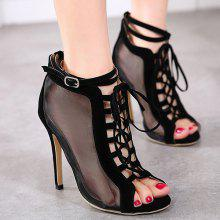Mesh Lace Up Peep Toe Shoes