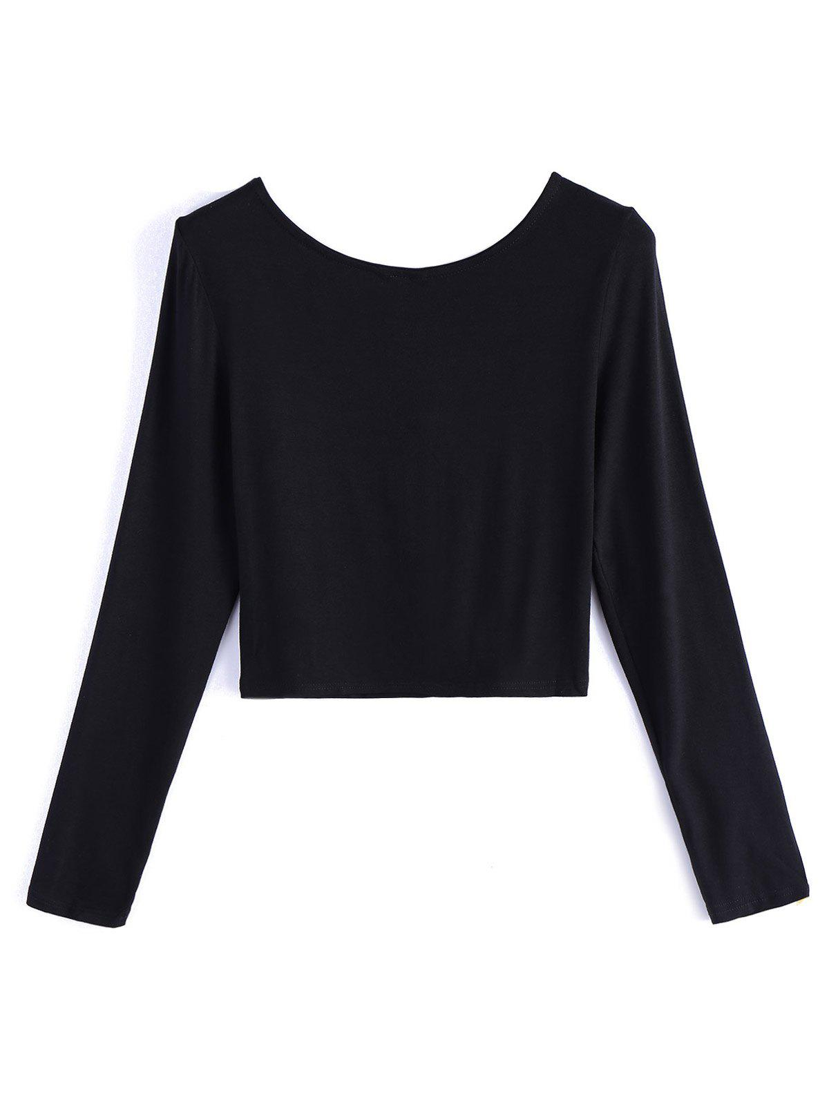 Lace Up Fitted Crop Tee Shirt - BLACK XL