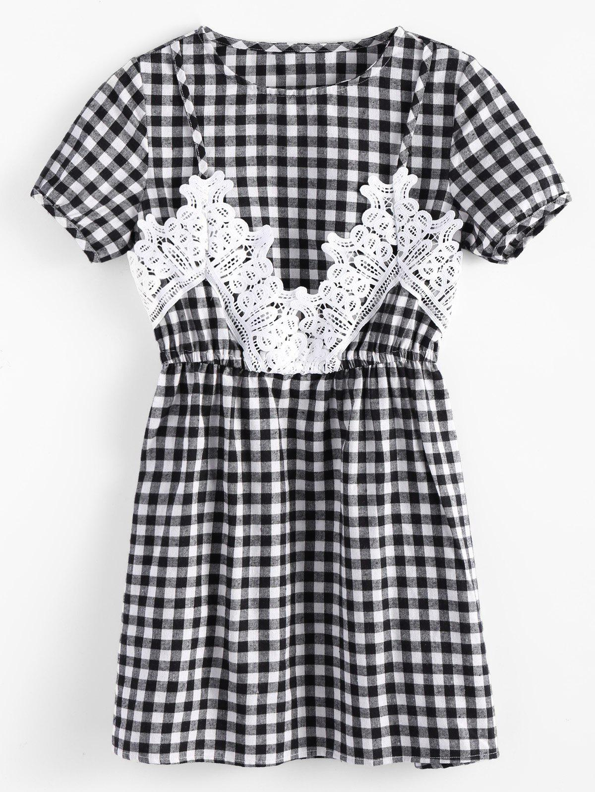 Short Sleeve Plaid Robe empiècement en dentelle - plaid S