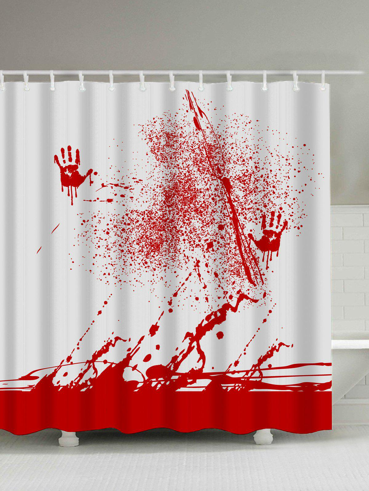 Blood Splatter Print Waterproof Bathroom Shower Curtain - RED/WHITE