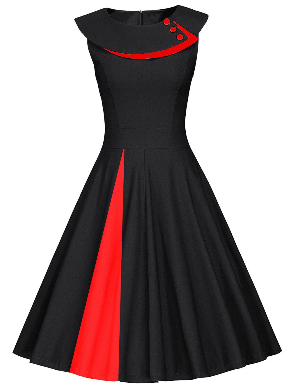Colorblock Sleeveless Pleated A Line Dress - RED/BLACK L