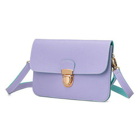 Push Lock Stitching Color Block Crossbody BagBags<br><br><br>Color: PURPLE