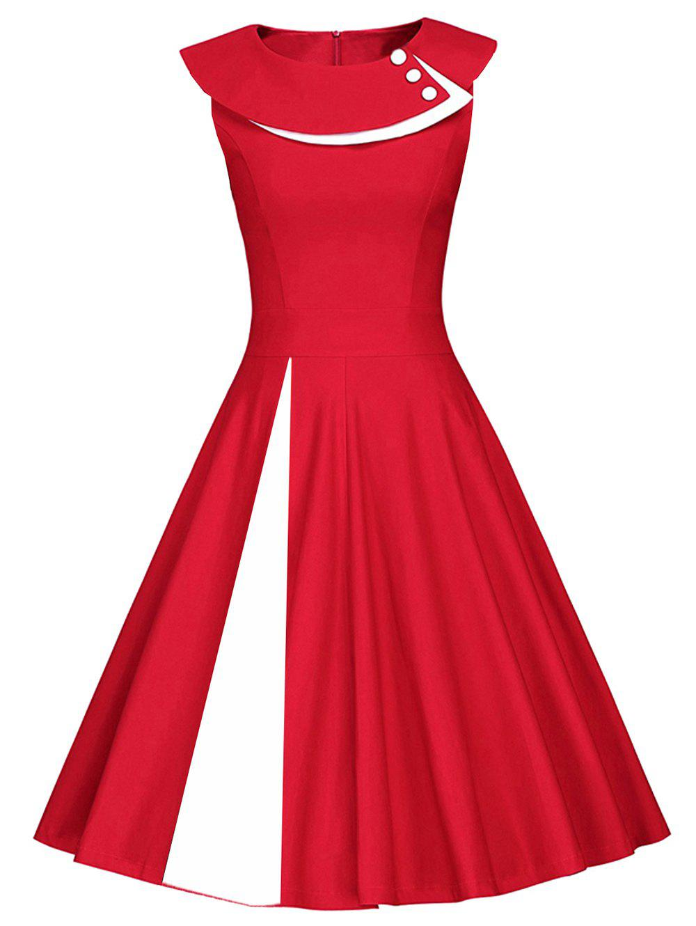 Colorblock Sleeveless Pleated A Line Dress - RED/WHITE M