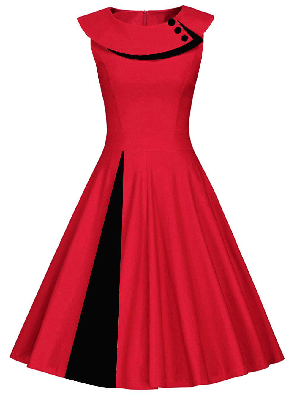 Colorblock Sleeveless Pleated A Line Dress - RED M