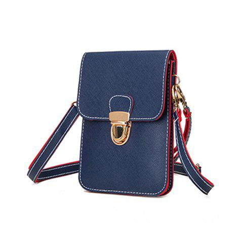 Color Blocking Push Lock Crossbody Bag