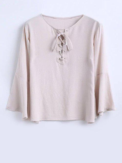 Bell Sleeve Lace Up Blouse - PINK SMOKE S