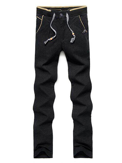 Buy Zip Fly Color Block Drawstring Pants BLACK