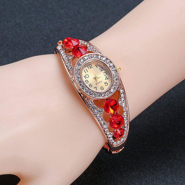 Hollow Out Rhinestoned Bracelet Watch - RED