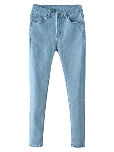 Zip Fly High Waisted Skinny Jeans - LIGHT BLUE S
