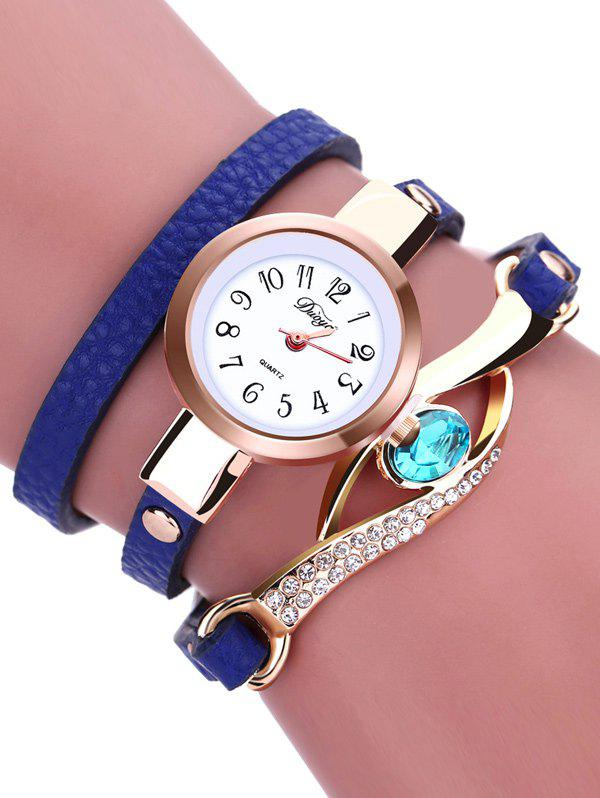 PU Leather Quartz Rhinestone Bracelet Watch - BLUE