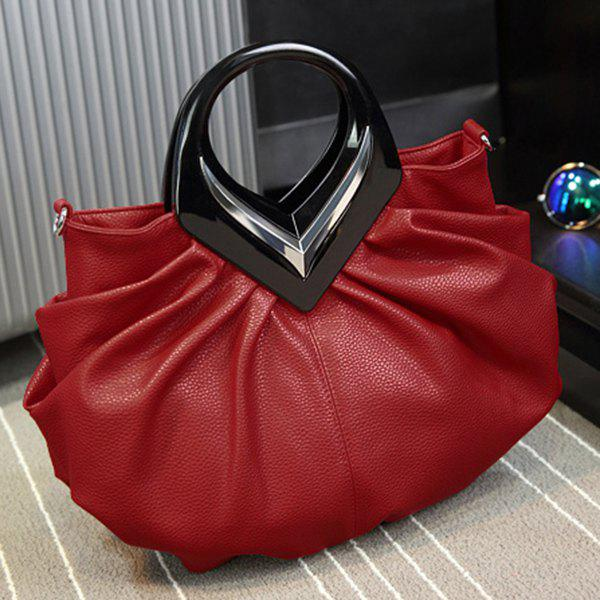 PU Leather Ruched Handbag - RED