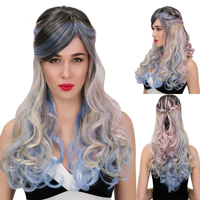 Adiors Colormix Long Side Bang Half Braided Wavy Synthetic WigHair<br><br><br>Color: COLORMIX