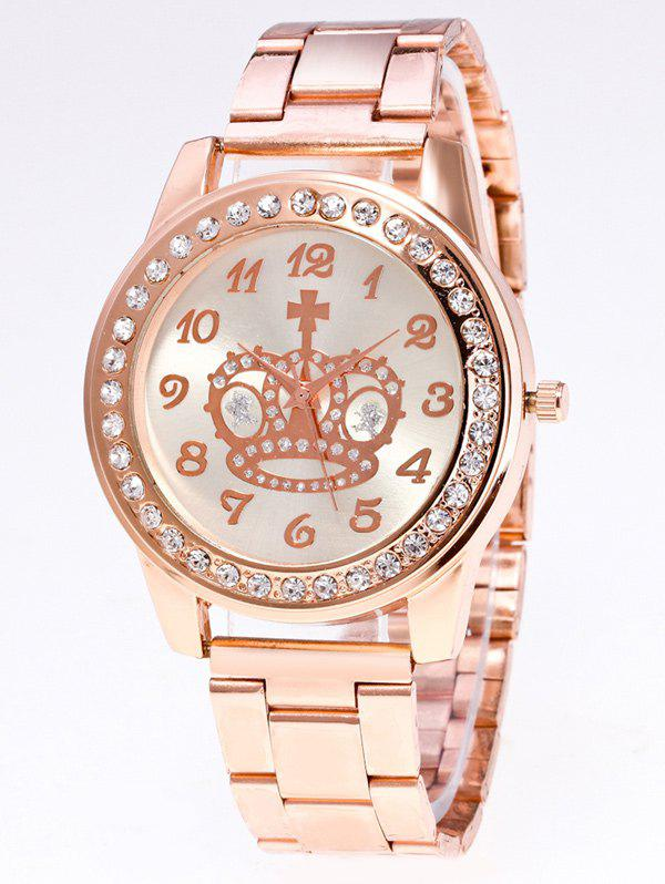 Rhinestoned Crown Stainless Steel Watch - ROSE GOLD