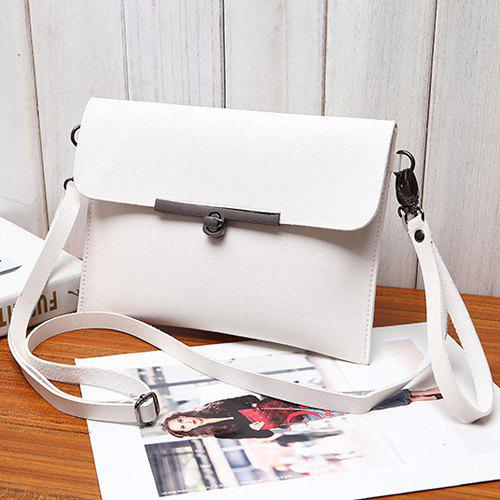 Flapped Metal Embellished Crossbody Bag - WHITE