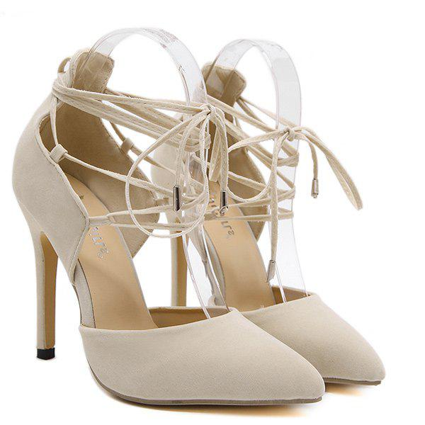 Lace Up Stiletto Heel Pumps - LIGHT BEIGE 40