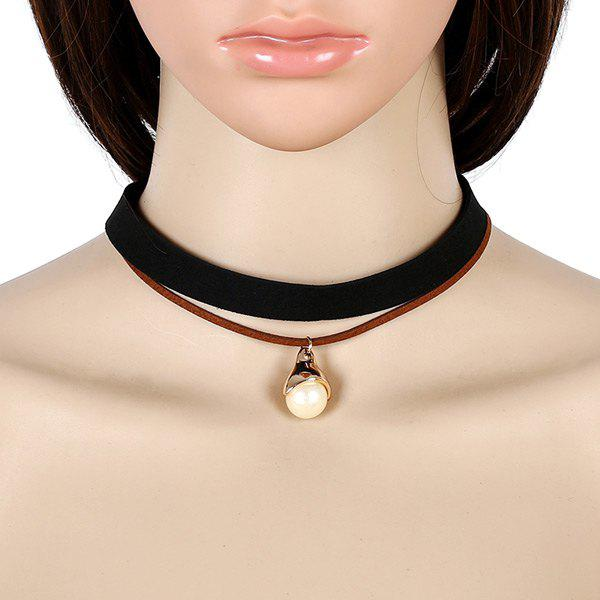 Faux Leather Velvet Pearl Choker NecklaceJewelry<br><br><br>Color: BLACK