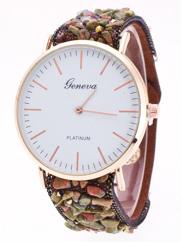 Faux Suede Stone Studded Bracelet WatchWatches<br><br><br>Color: COFFEE