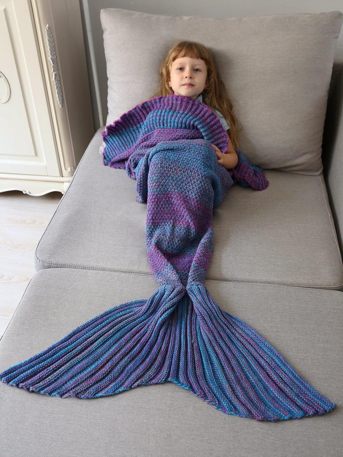 Ombre Crochet Knit Mermaid Blanket Throw For Kids
