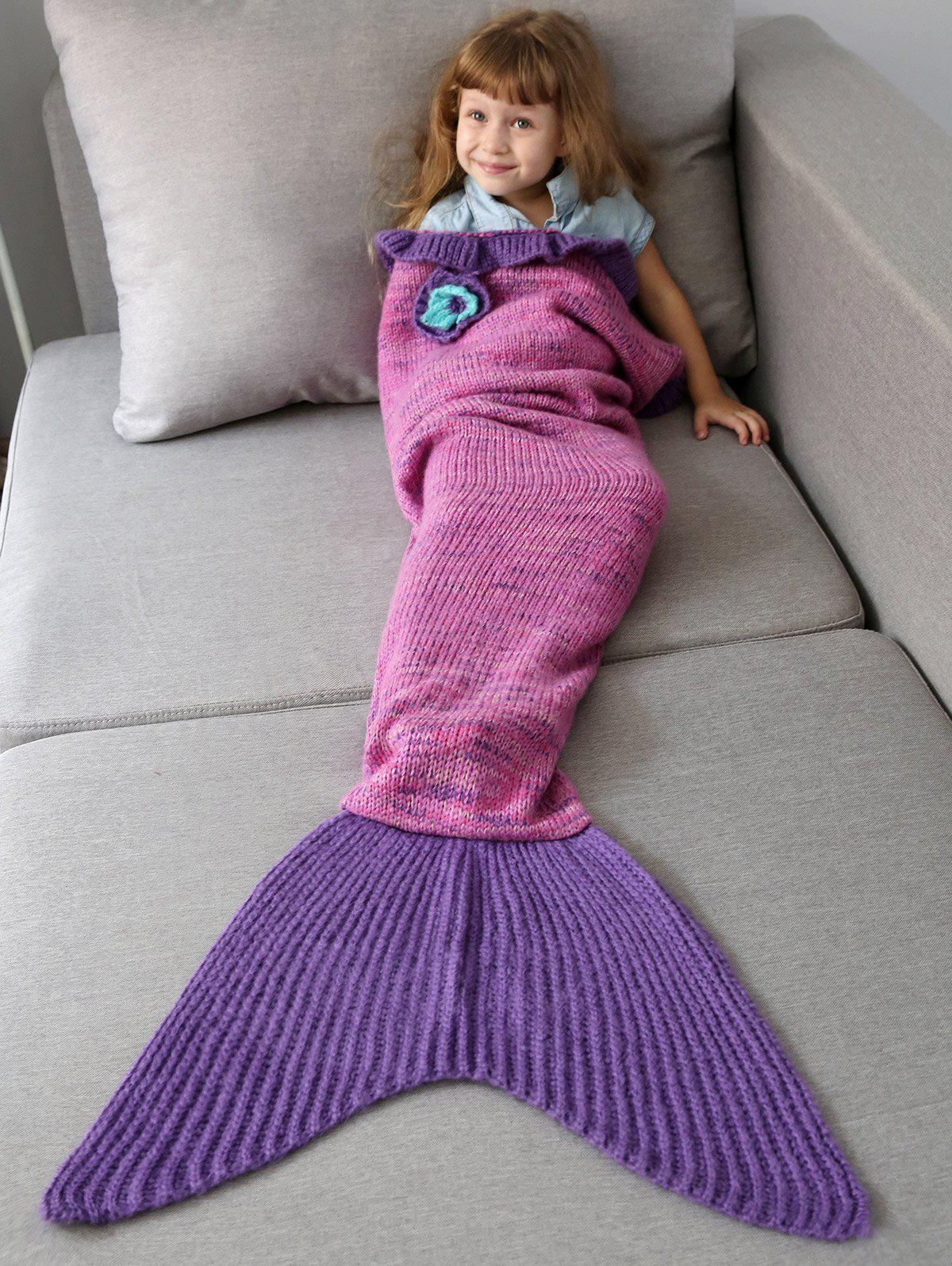 Handmade Flower Ruffles Knit Mermaid Blanket Throw For Kids
