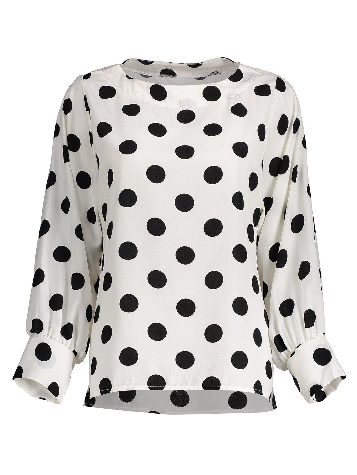 Polka Dot Long Sleeves Blouse - OFF WHITE S
