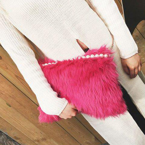 Faux Fur Beaded Crossbody BagBags<br><br><br>Color: ROSE RED