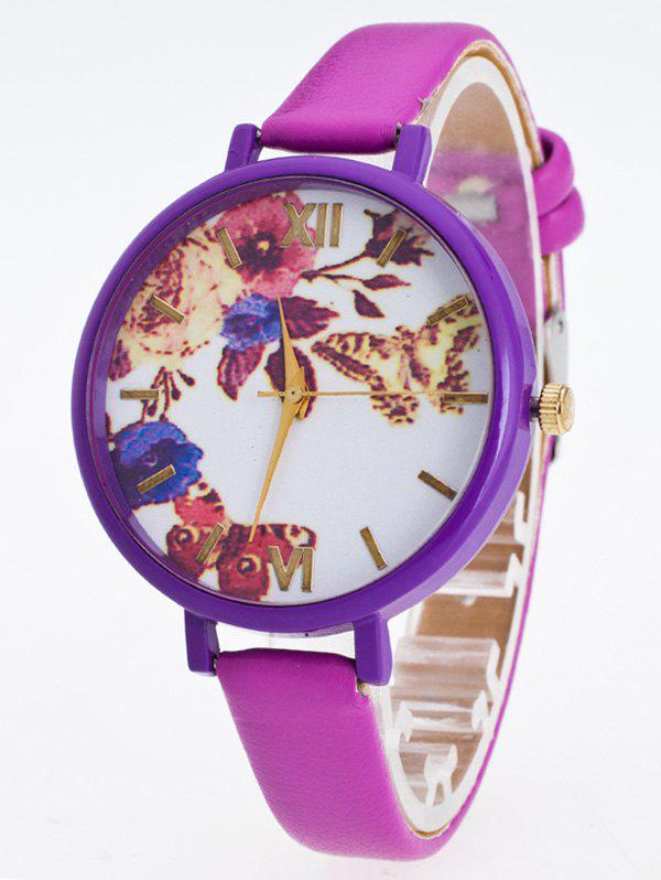 Faux Leather Flower Butterfly Analog Watch flower print faux leather strap watch