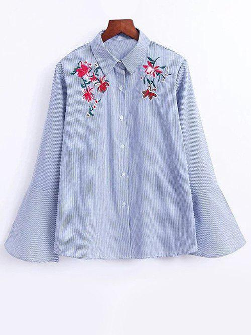 Flower Flare Sleeve Striped Shirt - STRIPE M