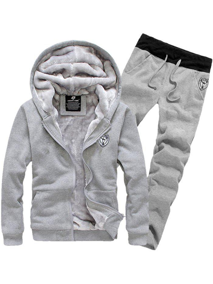 Zip Up Patch Hoodie et Sweatpants Twinset - Gris 2XL