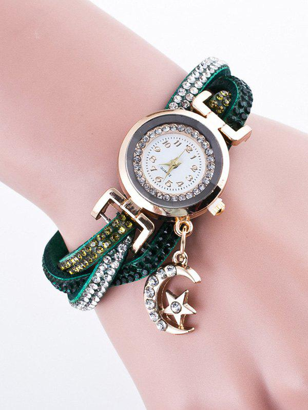 Moon Star Rhinestone Studded Bracelet Watch все цены