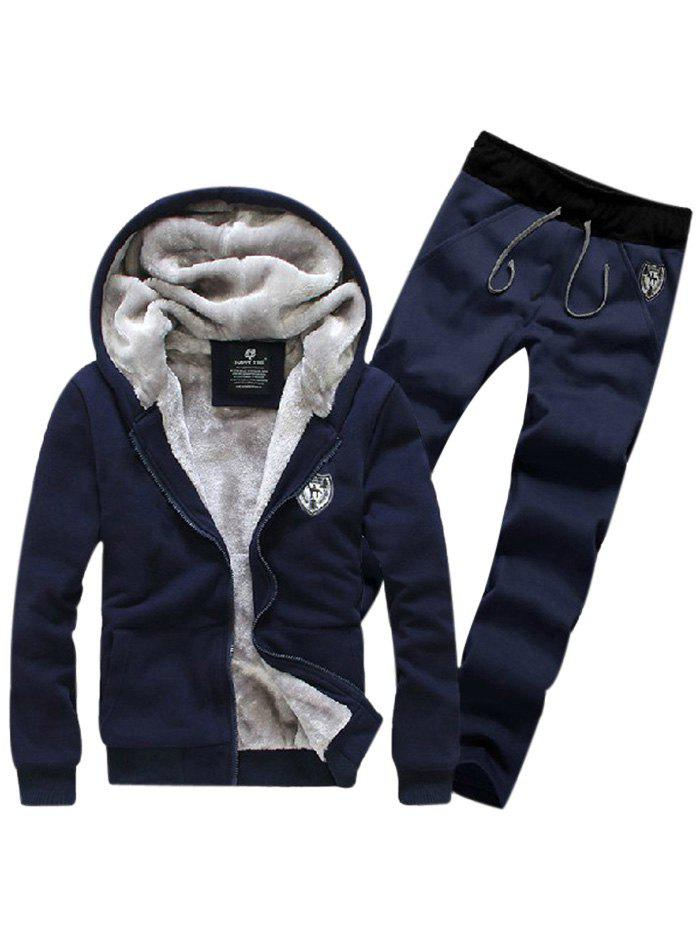 Zip Up Patch Hoodie et Sweatpants Twinset - Bleu Cadette M