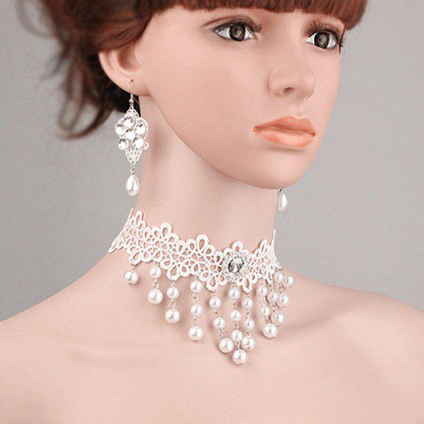 Artificial Pearl Flower Lace Choker Necklace and Earrings rhinestone artificial pearl flower necklace