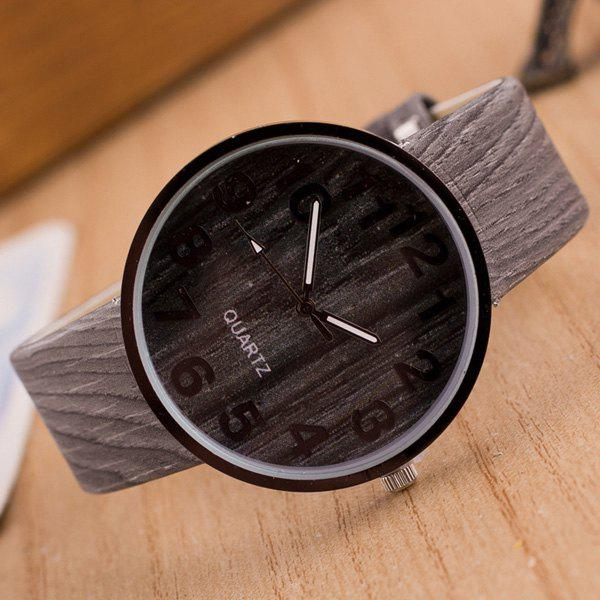 Faux Leather Wood Grain Number Watch - GRAY