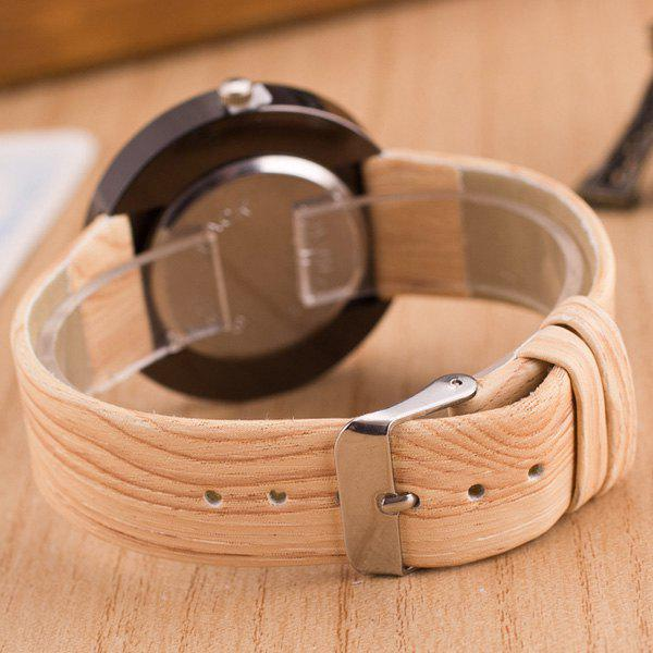 Faux Leather Wood Grain Number Watch - BEIGE