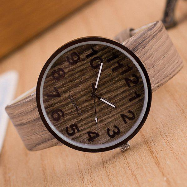 Faux Leather Wood Grain Number Watch - LIGHT COFFEE