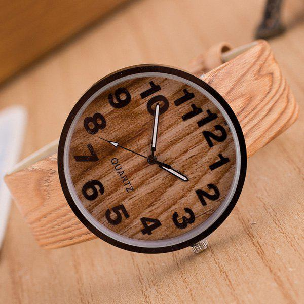 Faux Leather Wood Grain Number Watch - PALOMINO
