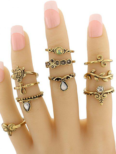 Tortoise Leaf Geometric Jewelry Ring Set - GOLDEN
